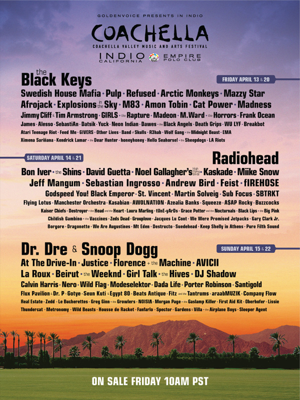 Coachella 2012 Lineup Indio, California Radiohead Black Keys Dr. Dre Snoop